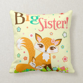 Lil Foxies Big Sister Throw Pillow