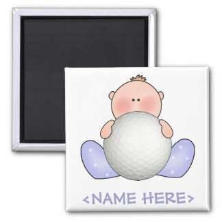 Lil Golf Baby Boy 2 Inch Square Magnet