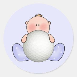Lil Golf Baby Boy Classic Round Sticker