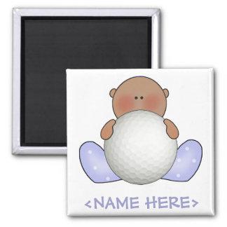 Lil Golf Baby Boy- Ethnic 2 Inch Square Magnet