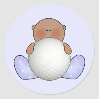 Lil Golf Baby Boy- Ethnic Classic Round Sticker