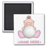 Lil Golf Baby Girl 2 Inch Square Magnet