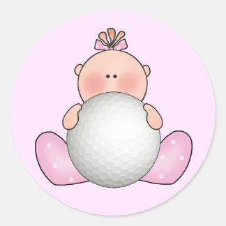 Lil Golf Baby Girl Classic Round Sticker