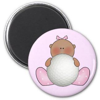 Lil Golf Baby Girl - Ethnic 2 Inch Round Magnet