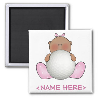 Lil Golf Baby Girl - Ethnic 2 Inch Square Magnet