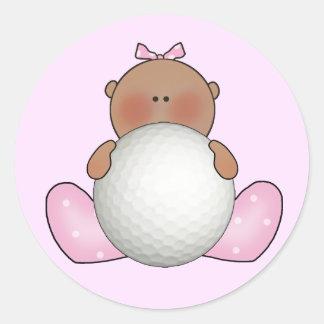 Lil Golf Baby Girl - Ethnic Classic Round Sticker