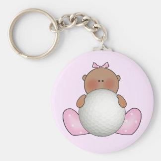 Lil Golf Baby Girl - Ethnic Basic Round Button Keychain