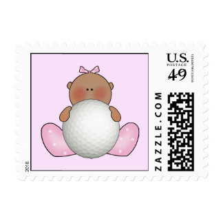 Lil Golf Baby Girl - Ethnic Postage Stamps