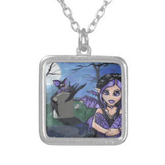 """Lil Gothic Moon"" cute fairy bat fantasy NECKLACE"