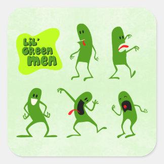 Lil' Green Men Square Sticker