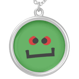 Lil' Green Monster Round Pendant Necklace