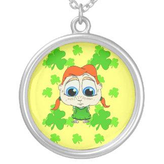 Lil Irish Lass Round Pendant Necklace
