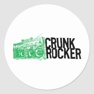 "Lil Jon ""Crunk Rocker Boombox Green"" Round Stickers"
