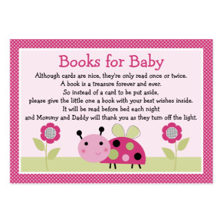 """""""Lil Ladybug with dots"""" Book Request Inserts Large Business Cards (Pack Of 100)"""