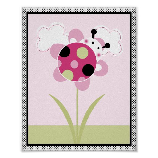 Lil Ladybug with Polka Dots #3 Nursery Art Poster