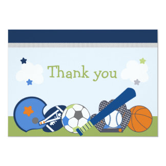 Lil/Little Sports Player Shower Thank You Card Invitations