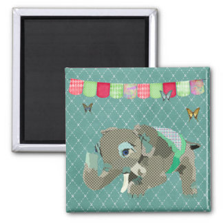 Lil Lucky Elephant Green Magnet