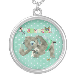 Lil' Lucky Elephant Green Star Necklace