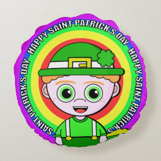 Lil Lucky Saint Patrick's Day Round Pillow