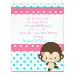 Lil Miss Monkey Baby Shower Invitation-Pink-Blue Card