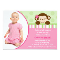Lil Mod Monkey Girl Photo Birthday Invitations