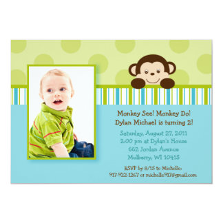 Lil Mod Monkey Photo Birthday Invitations