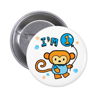 Lil Monkey 1st Birthday Button