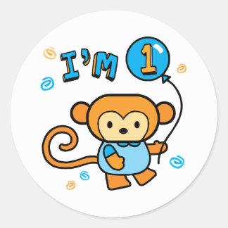 Lil Monkey 1st Birthday Classic Round Sticker