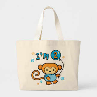 Lil Monkey 2nd Birthday Large Tote Bag