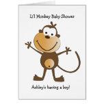 Li'l Monkey Baby Shower Invitation Greeting Cards