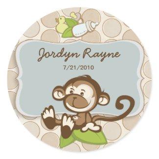 Lil Monkey Birth Announcement Sticker/Label sticker