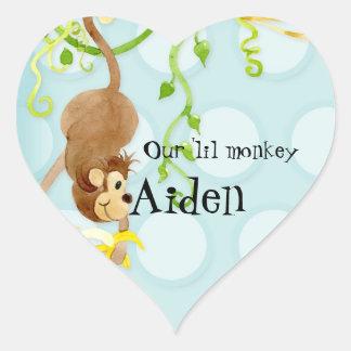 Lil Monkey, Boy Baby Shower Sticker Seal