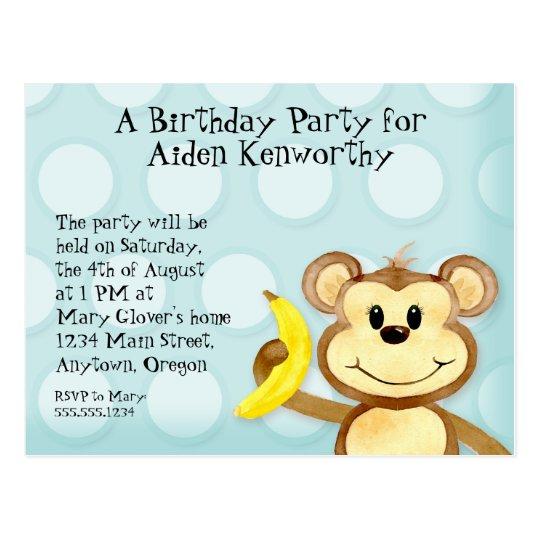 Lil Monkey, Boy Birthday Party Post Card Invite
