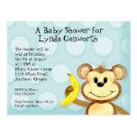 Lil Monkey, Boy Blue Baby Shower Post Card Invite