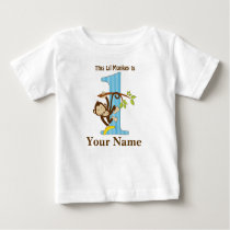 Lil Monkey First Birthday Tshirt Personalized
