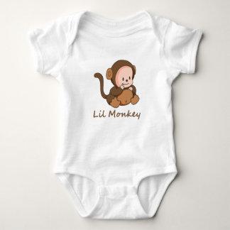 """Lil Monkey"" Fun Quote Cute Baby Monkey Baby Bodysuit"