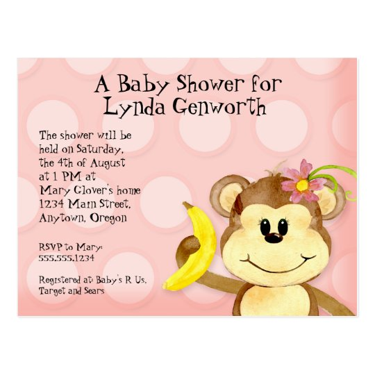 Lil Monkey, Girl Baby Shower Post Card Invite