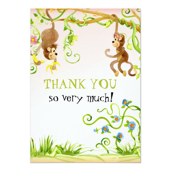 Lil Monkey, Girl Birth Thank You Notes Card