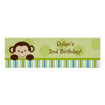 Lil Monkey Mod Monkey Baby Shower Banner Sign