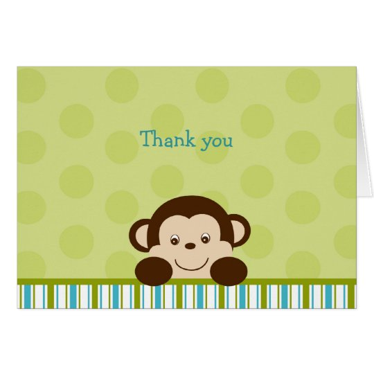 Lil Monkey Mod Monkey Thank You Note Cards