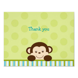 Lil Monkey Mod Monkey Thank You Note Cards Invitations