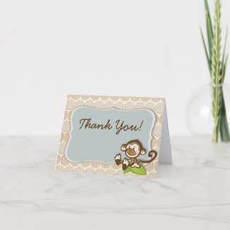 Lil Monkey New Baby Thank You Cards card