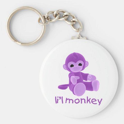 L'il Monkey (purple) Basic Round Button Keychain