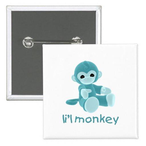 L'il Monkey (teal) Button
