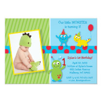 Lil Monster Photo Birthday Invitations