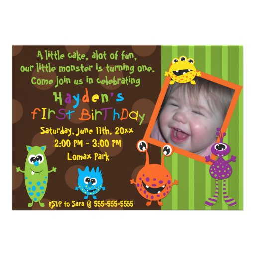 Lil Monsters First Birthday. Custom Invitations