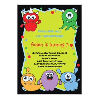 Lil' Monsters Party Invites