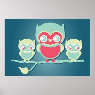 Lil Munchkin Kawaii Owls Poster