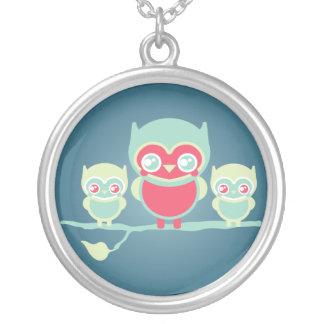 Lil Munchkin Kawaii Owls Round Pendant Necklace