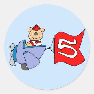 Lil Pilot Bear 5th Birthday Sticker
